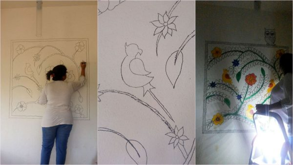 DIY Madhubani Inspired Mural