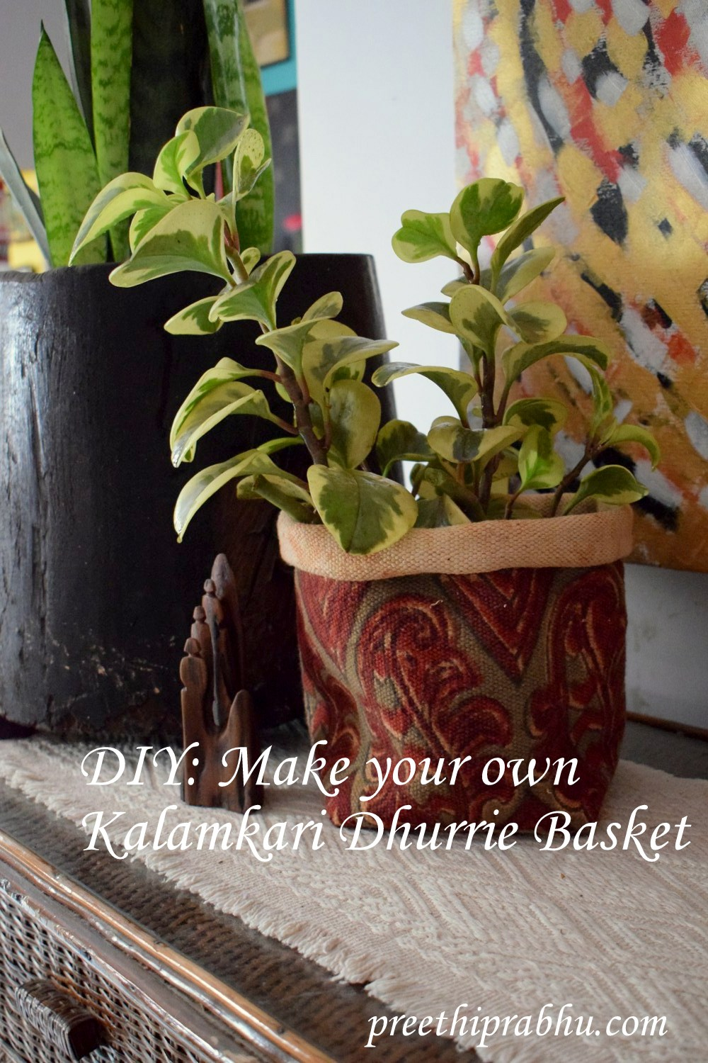 DIY Kalamkari Carpet Planter Basket