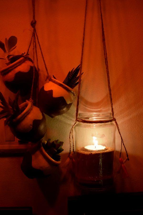 Jam bottle hanging lantern