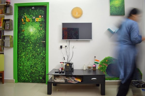 Jungle theme painted mural